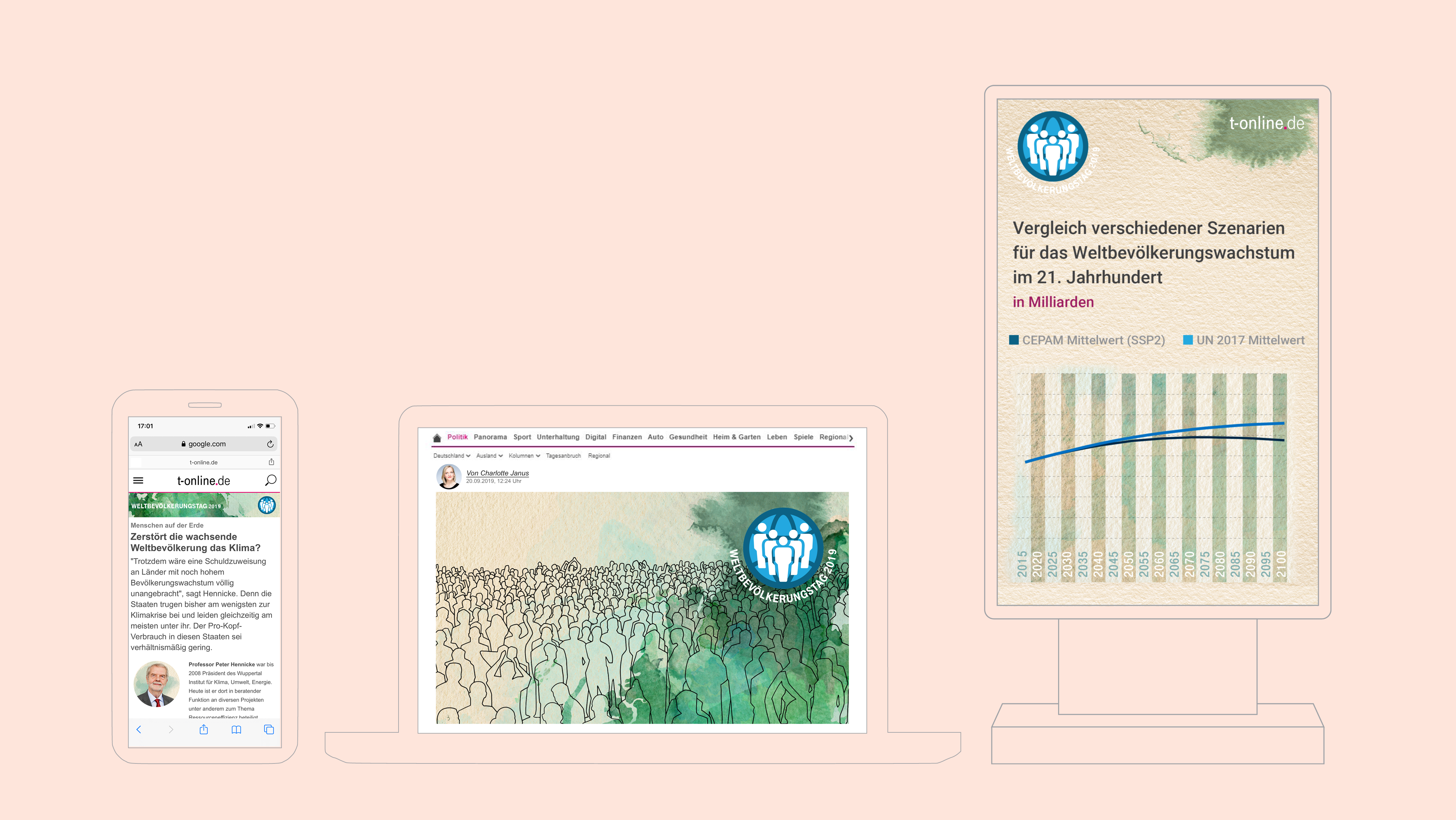 Nour Alnader, Portfolio, t-online.de , Weltbevölkerungstag , Info grafik, Billboard, Info screen