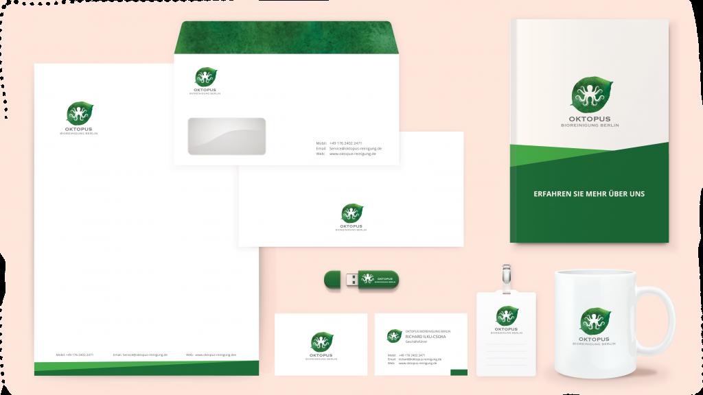 Nour, Alnader, Logo Design, Octopus, Oktopus, Bio, Reinigung , Stationary, Corporate, Branding, Web, design, Gestaltung