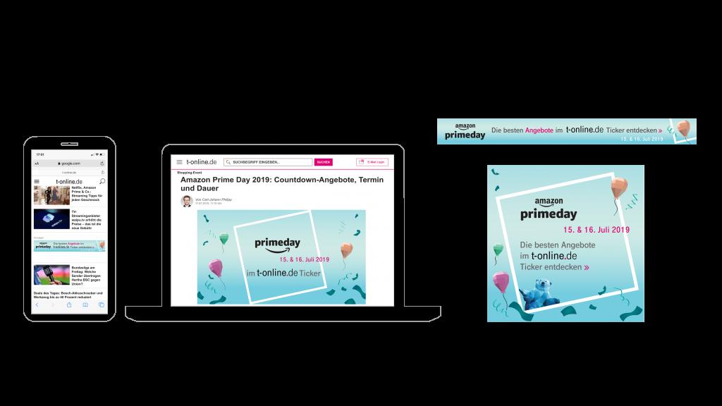Nour, Alnader, Portfolio, Web, Amazon, t-online.de, prime day, Werbemittel, Advertising, Grafik, Illustration, Werbung, Ad, Ticker